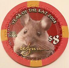 $8 Wynn Casino Chip - Chinese New Year 2008 - Rat - Baccarat Las Vegas Uncircula