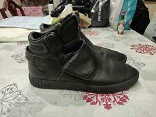 Adidas Classic Tubular Invader Black Faux Leather Trainers UK Size 9.5