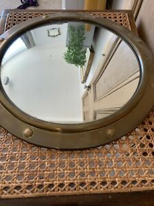 VINTAGE 1970s ROUND BRASS PORTHOLE 12' CONVEX MIRROR WITH HANGING CHAIN