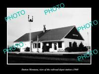 OLD POSTCARD SIZE PHOTO OF DUTTON MONTANA THE RAILROAD DEPOT STATION c1960