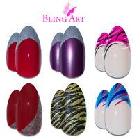 Bling Art Almond False Nails Purple Blue Pink Gold Red Black Glitter Fake Medium
