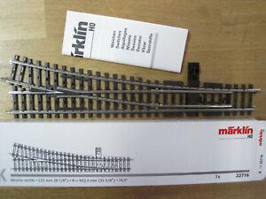Märklin H0 K-Gleis  22716 schlanke Weiche rechts   mit OVP nicht geschraubt