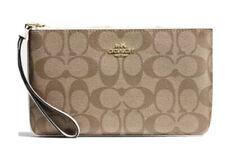 Coach Large Wristlet Signature Canvas Clutch Pouch Khaki Chalk Bag Handbag NWT
