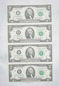 Rare** UNCUT SHEET - 2003-A $2 - Choice Unc - Never Cut by the Treasury! *594