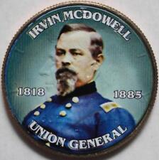 JFK KENNEDY HALF DOLLAR CIVIL WAR - IRVIN MCDOWELL COLORIZED COIN UNC