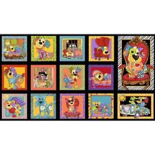 "Joy Dog Panel  ~ Loralie Designs ~  24"" x 42""  ~ 100% Quilting Cotton"