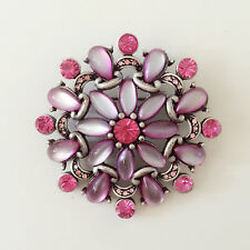 Good Fortune Lucky Brooch Pin Br1465 New Rose Pink Round Daisy Flower Crystals