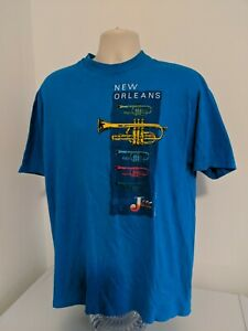 Vtg 80's 1988 Hanes Beefy T Shirt New Orleans Jazz Shirt XL Blue