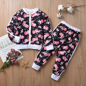 Toddler Kids Girl Tracksuit Floral Tops Jacket Pants Trouser Outfits Clothes Set