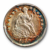 1857 H10C Liberty Seated Half Dime PCGS MS 64 Colorful Toned Beauty