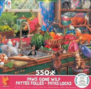 Eduard Ceaco Paws Gone Wild 550 Pc Jigsaw Puzzle Kitchen Capers NIB