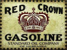 Red Crown Benzina, Retrò Segno di alluminio metallo vintage garage rimessa Man Grotta