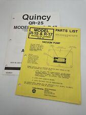 Quincy Vacuum Pump Parts List R 15 R 17 Manual Book Catalog 1152w