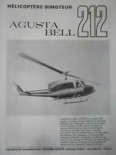 12/1970 PUB GIOVANNI AGUSTA GALLARATE AGUSTA BELL 212 HELICOPTERE FRENCH AD