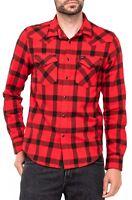 Lee Mens Long Sleeve Cotton Shirt Western Check Slim Fit Warp Red S M L XL XXL