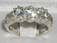 Luxury Solid Sterling Silver Natural Aquamarine Art Nouveau Style Trilogy Ring