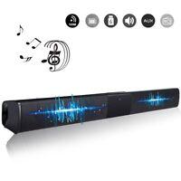 Wireless 3D Surround Sound 4* Subwoofer Bluetooth Soundbar TV Speaker Rectangle