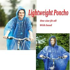 Adult Raincoat Clear Waterproof Plastic Rain Poncho Hood Unisex Outdoor Camping