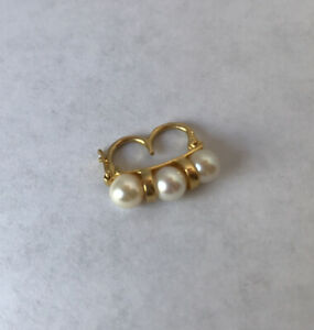 3-Pearl 14K Yellow Gold Pearl Shortener With Safety Clasp