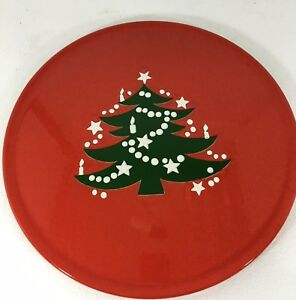 "Waechtersbach Christmas Tree Red Platter Chop Plate 12""  Earthenware"