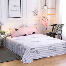 White and Grey Stripes Print Cotton Blend Geometric Flat Sheet Queen Only
