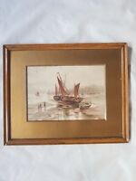 old framed watercolour painting habour sailing scene GEW artist monogram MARINE