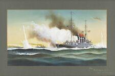 HMAS SYDNEY vs  EMDEN at Cocos Islands 1914 modern digital Art Postcard