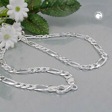 925 Sterlingsilber Halskette Kette 5mm Figaro flach Silber 50cm