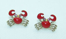 Betsey Johnson Red Crab Enamel Crystal Gold Tone Stud Earrings New on Card