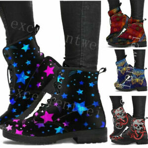 Womens Ladies Chunky Lace Up Ankle Boots Platform Icon Retro Punk Goth Black
