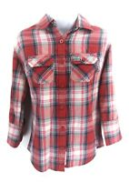 SUPERDRY Womens Shirt S Small Red Blue White Check Cotton 3/4 Sleeve