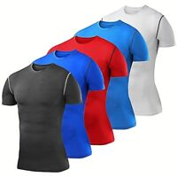 Mens Compression Shirt Short Sleeve Base Layer Workout Clothes Running Tights