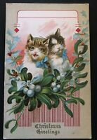 ~Vintage Christmas Postcard~Cats Kittens Mistletoe Holly Embossed-Unused~~a513