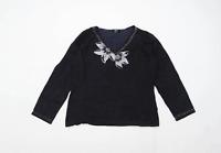 Diva Womens Size 2XL Floral Black Jumper (Regular)