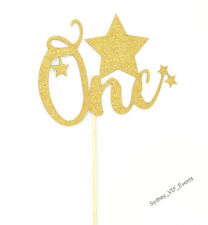 One GOLD GLITTER CAKE TOPPER STAR 1ST FIRST BIRTHDAY PARTY NUMBER DECORATION
