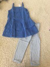 Gymboree GREEK ISLE STYLE crochet sweater dress stripe capri leggings 5t 5 EUC