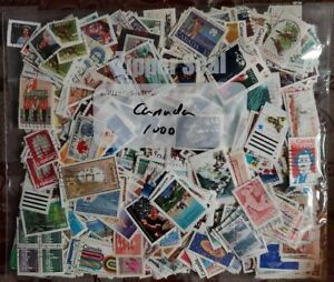 Canada Kiloware 1000 used stamps off paper large and small, duplication #18
