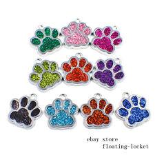 50pcs Crystal Dog Paw Print Clip Dangle Hang Charms For Keyring/Necklace