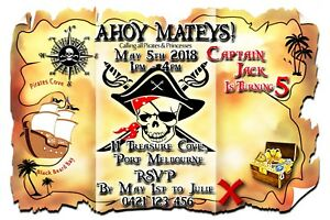 Personalised Pirate Treasure Map Birthday Party Invitations - You Print