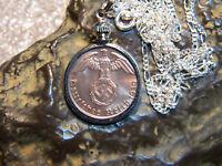 """WW2 German 1 Pfennig Third Reich Coin With Swastika 24"""" .925 Chain Pendant"""
