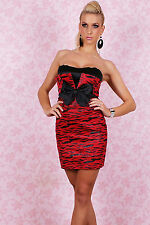 Abito ricamato fiocco senza spalline Sexy Mini Glamaur Strapless Dress Loop Red