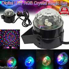 LED Disco Light Music Activated Crystal Ball Rotating Stage Lighting DJ Party UK