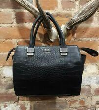 Fiorelli Womens Black Faux Croc Skin Grab Bag Handbag
