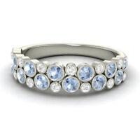 0.91 Ct Genuine Diamond Aquamarine Eternity Band 14K White Gold Ring Size L M N