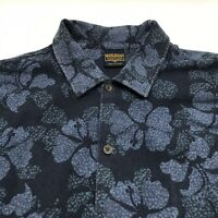 Woolrich Men's Shirt Large Blue Hawaiian Hibiscus Short Sleeve Button Front