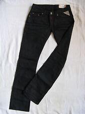 Replay Damen Jeans Black Denim W25/L32 low waist regular fit straight leg waxed