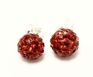 Fireball Red Earrings .925 Sterling Silver Stud Crystal 8mm 1.20 Grams Circle