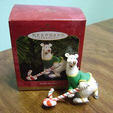"1999- HALLMARK KEEPSAKE ""NORTH  POLE STAR""  SKATEING BEAR CHRISTMAS ORNAMENTS"