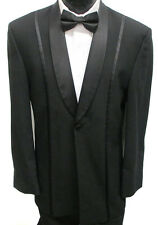Black Jean Yves One Button Shawl Tuxedo Jacket Wedding Discout Great  Deal 44L