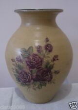 EARTHLY COLLECTIONS  POTTERY COTTAGE ROSE  VASE 21cm H